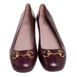 Gucci Brown Leather Horsebit Ballet Flats Size 38.5