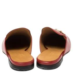 Gucci Red Leather Princetown Horsebit Flat Mules Size 37
