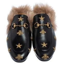 Gucci Black Star And Bee Embroidered Leather Fur Lined Princetown Horsebit Mules Size 37