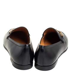 Gucci Black Leather Horsebit Loafers Size 37