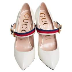 Gucci White Leather Sylvie Mary Jane Pumps Size 38.5