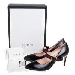 Gucci Black Canvas And Leather Sylvie Mary Jane Pumps Size 39