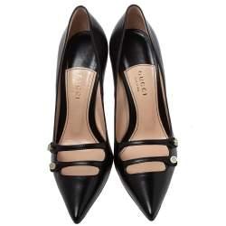 حذاء كعب عالى غوتشى أنيتا جلد أسود مقاس 38