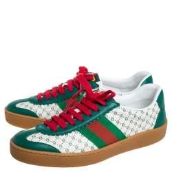 Gucci Green/White Leather Web Dapper Dan Low Top Sneakers Size 35