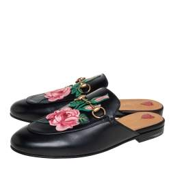 Gucci Black Leather Rose Embroidered Princetown Horsebit Flat Mules Size 38