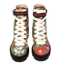 Gucci Multicolor Floral Print GG Supreme Combat Ankle Boots Size 37.5