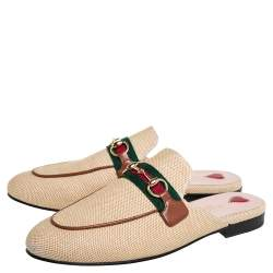 Gucci Beige Canvas Web Princetown Sandals Size 37.5