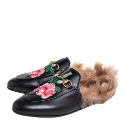 Gucci Black Leather And Fur Princetown  Sandals Size 39