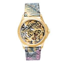 Gucci Tiger Print Gold Tone Stainless Steel Le Marche Des Merveilles YA1264008 Women's Wristwatch 38 mm