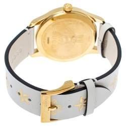 Gucci Cream Yellow Gold Tone Stainless Steel Leather G-Timeless YA1264096 Women's Wristwatch 38 mm