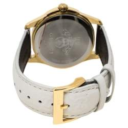 Gucci White Yellow Gold PVD Coated Stainless Steel Leather G-Timeless 126.4 Women's Wristwatch 38 mm