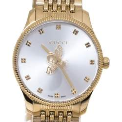 Gucci Silver Yellow Gold PVD Coated Stainless Steel G-Timeless YA1265021 Women's Wristwatch 29 mm