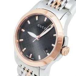 Gucci Black Two Tone Stainless Steel G-Timeless YA126512 Women's Wristwatch 27 mm