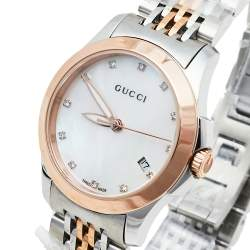 Gucci Mother Of Pearl Two-Tone Stainless Steel Diamonds G-Timeless YA126514 Women's Wristwatch 27 mm