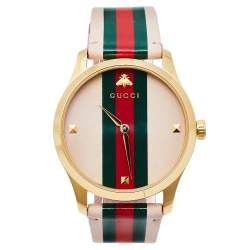 Gucci Pink Yellow Gold PVD Stainless Steel Leather G-Timeless YA1264118 Women's Wristwatch 38 mm