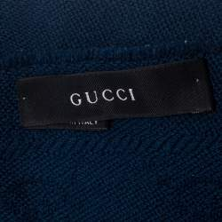 Gucci Navy Blue GG Patterned Jacquard Wool Stole
