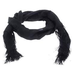Gucci Black Tassled Edge Silk Scarf