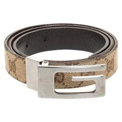 Gucci Beige/Brown GG Canvas and Leather G Buckle Belt 80CM
