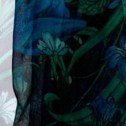 Gucci Black Floral Print Silk Fringed Scarf