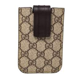 Gucci Brown/Beige GG Supreme Canvas and Leather iPhone 4/4S Cover