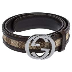 Gucci Brown/Beige GG Canvas and Leather Interlocking G Buckle Belt 80CM