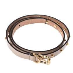 Gucci Beige Spike Leather Slim Buckle Belt 90CM