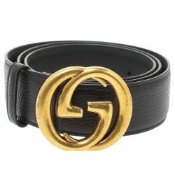 Gucci Black Grained Leather Interlocking G Buckle Belt 95CM