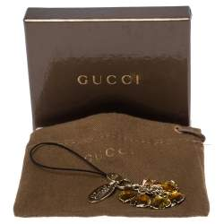 Gucci Logo Enamel Crystal Gold Tone Cell Phone Charm