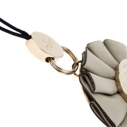Gucci GG Enamel Leather Gold Tone Floral Cell Phone Charm
