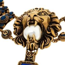 Gucci Lion Head Faux Pearl Antique Gold Tone Chunky Necklace