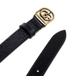 Gucci Black Leather Framed GG Buckle Belt 90CM
