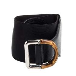Gucci Black Leather and Elastic Fabric Band Bamboo Buckle Waist Belt 75CM
