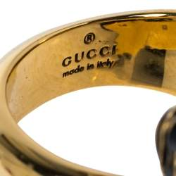 Gucci Tiger Double Head Enamel Gold Tone Wrap Ring Size 54.5