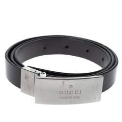 Gucci Black Leather Logo Plaque Belt 85 CM