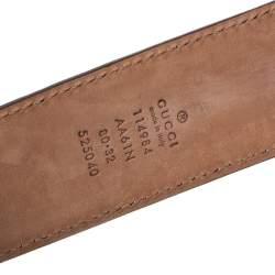 Gucci Brown Guccissima Leather Interlocking G Buckle Belt 80CM