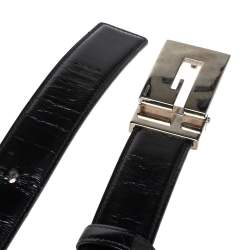 Gucci Black Leather Reversible Square G Belt Size 85