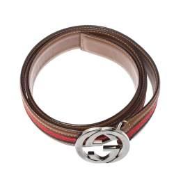 Gucci Brown Leather Web Interlocking G Belt 80cm