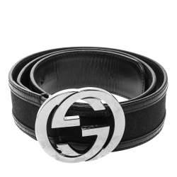 Gucci Black GG Canvas and Leather G Interlocking Belt Size 90CM