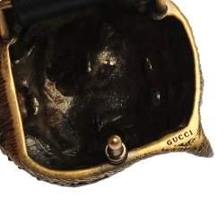 Gucci Black Leather Tiger Belt 90 CM