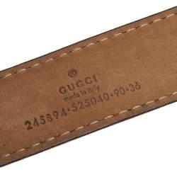 Gucci Black Leather Double G Buckle Belt 90 CM