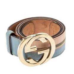 Gucci Multicolor Web Detail Canvas and Leather Interlocking G Buckle Belt 85 CM