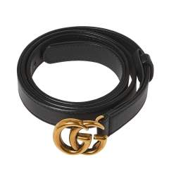 Gucci Black Leather GG Marmont Belt 85CM