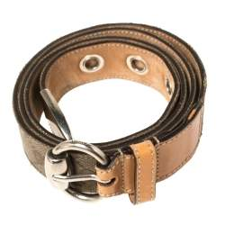 Gucci Grey/Brown GG Canvas and Leather Horsebit Belt 100CM