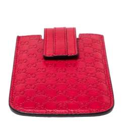 Gucci Red Leather Microguccissima iPhone 3&4 Case