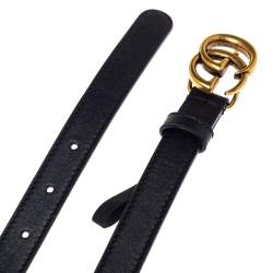 Gucci Black Leather GG Marmont Buckle Narrow Belt 90CM
