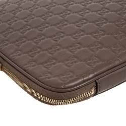 Gucci Light Brown Guccissima Leather Laptop Zip Around Case