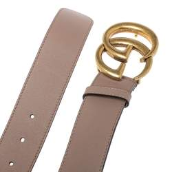 Gucci Beige Leather GG Marmont Buckle Belt 80CM