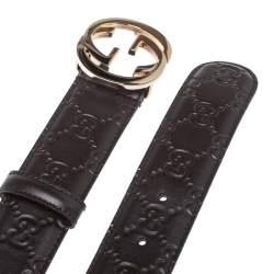 Gucci Brown Guccissima Leather Interlocking GG Buckle Belt 85CM