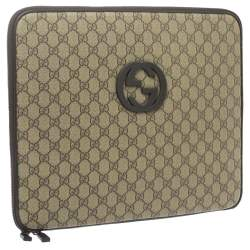 Gucci Beige/Ebony GG Supreme Canvas and Leather Interlocking Logo Laptop Case