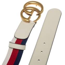 Gucci White Canvas and Leather Web GG Marmont Belt 85CM